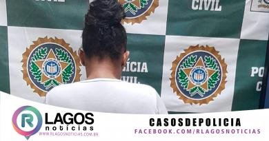 Polícia Civil da 126ª DP de Iguaba Grande prende mulher foragida por tráfico de drogas no bairro das Palmeiras em Cabo Frio.