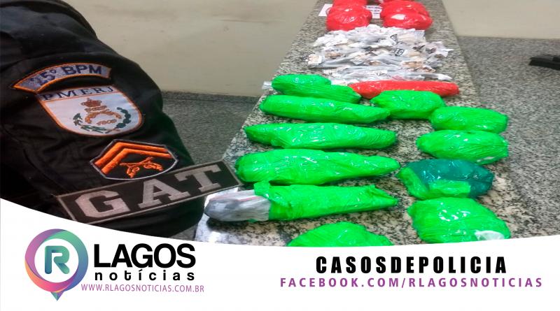 GAT, prende vulgo Playboy suspeito do tráfico de drogas na comunidade do Alecrim em São Pedro da Aldeia.
